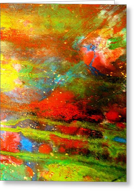 Earth And Sky Abstract Greeting Card by Carolyn Repka