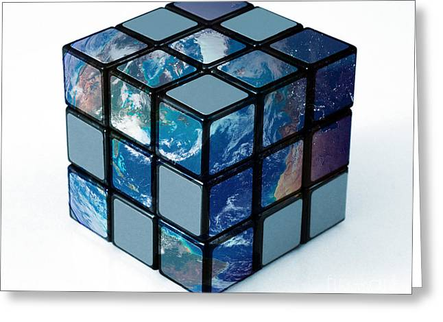 Earth As Rubiks Cube Greeting Card by Spencer Sutton