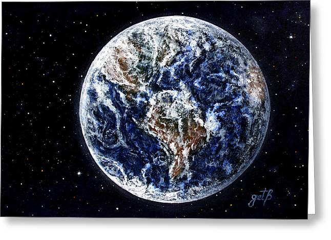 Earth Beauty Original Acrylic Painting Greeting Card by Georgeta Blanaru