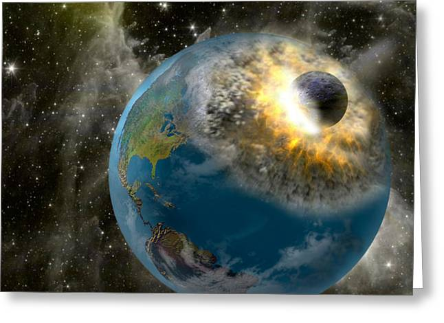 Earth Being Hit By A Planet Killing Greeting Card by Panoramic Images