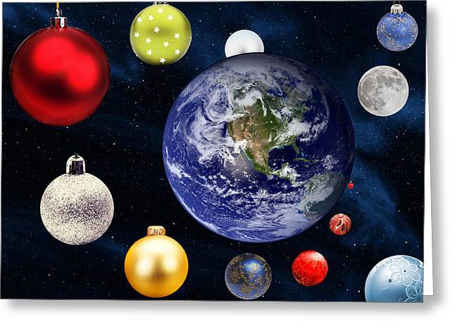 Earth Christmas 2 Greeting Card by Bruce Iorio