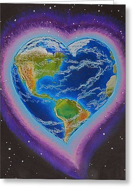 Earth Equals Heart Greeting Card by R Neville Johnston