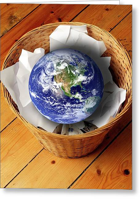 Earth In Bin Greeting Card