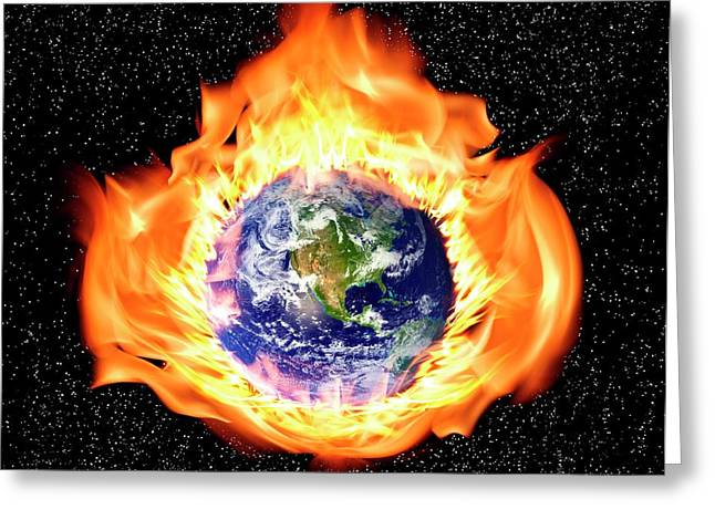 Earth In Flames Greeting Card