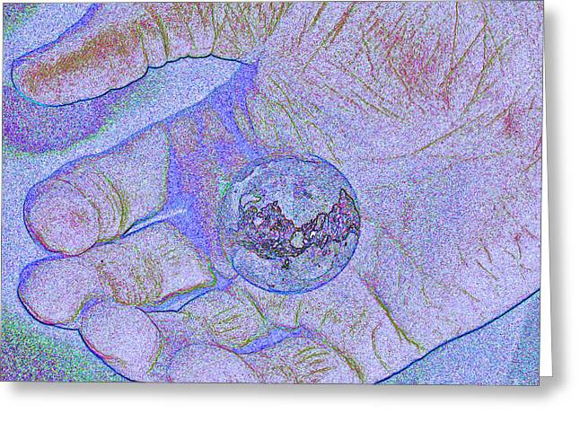 Earth In Hand Greeting Card by First Star Art