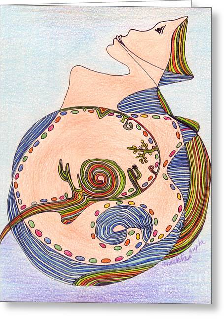 Greeting Card featuring the drawing Earth In Harmony by Mukta Gupta