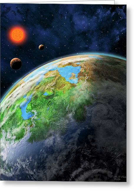 Earth-like Alien Planet Greeting Card by Nicolle R. Fuller