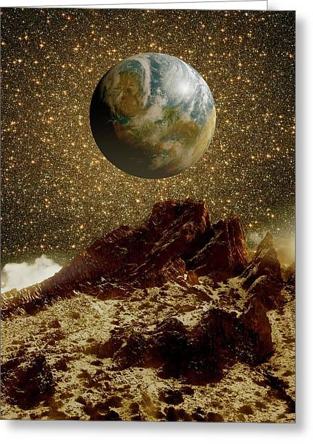 Earth-like Planet And Omega Centauri Greeting Card by Detlev Van Ravenswaay
