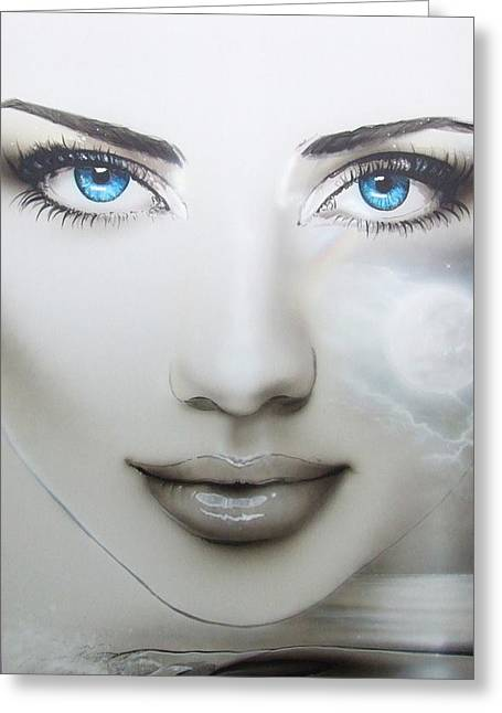 Portrait - ' Earth Moon ' Greeting Card by Christian Chapman Art