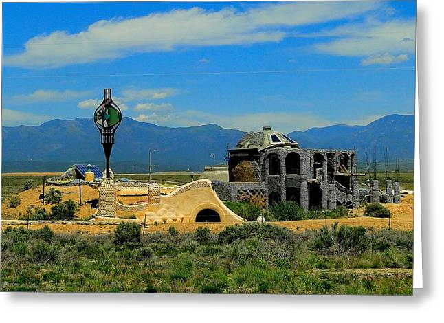 Earth Ships Of New Mexico Greeting Card by Cindy Croal