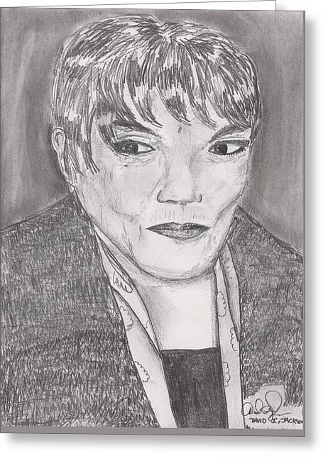 Greeting Card featuring the drawing Eartha Kitt by David Jackson