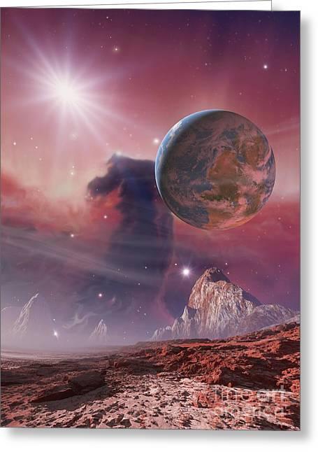 Earthlike Planet In Orion Nebula Greeting Card by Detlev van Ravenswaay