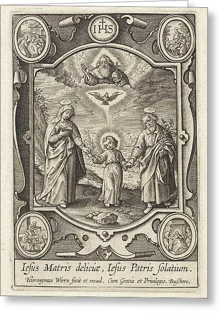 Earthly And Heavenly Trinity, Hieronymus Wierix Greeting Card by Hieronymus Wierix