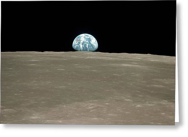 Earthrise Over Moon Greeting Card by Nasa