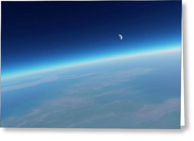 Earth's Atmosphere And Moon Greeting Card