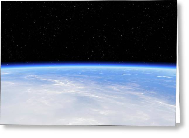 Earth's Atmosphere From Orbit Greeting Card by Detlev Van Ravenswaay