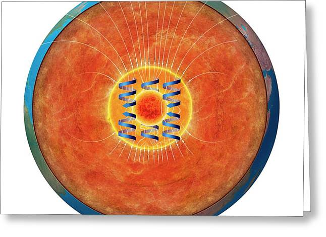 Earth's Magnetic Core Greeting Card by Claus Lunau