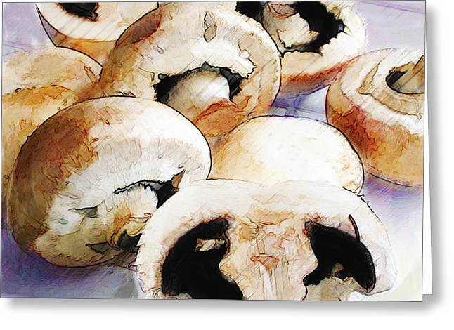 Earthy Mushrooms Greeting Card by Elaine Plesser