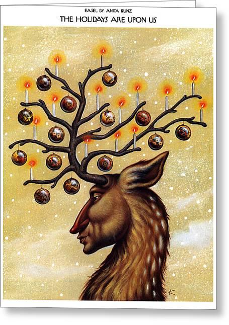 Easel The Holidays Greeting Card by Anita Kun