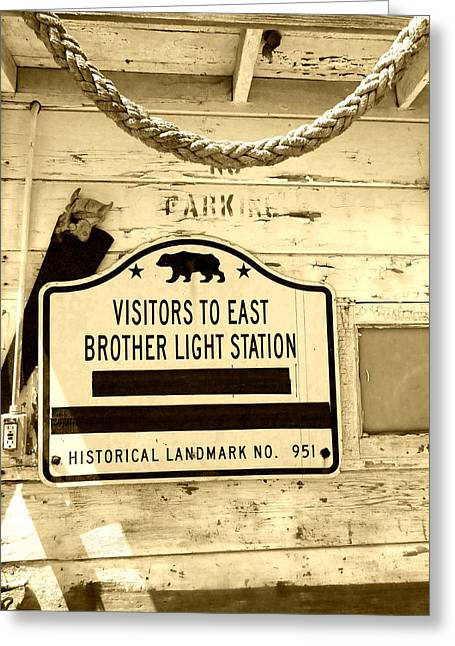 East Brother Light Station Visitor Sign Greeting Card