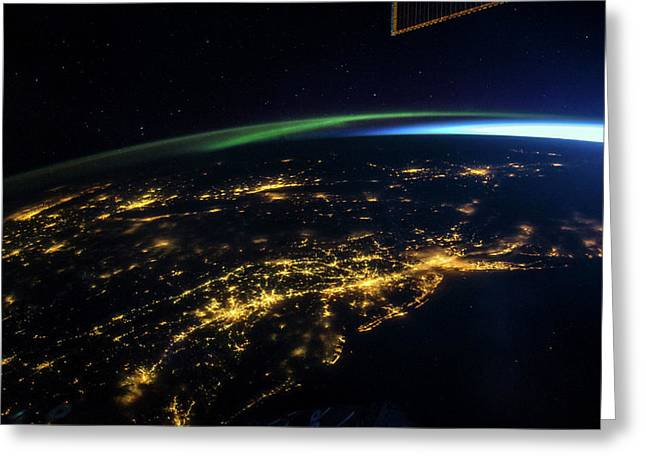 East Coast Usa At Night From Space Greeting Card by Nasa