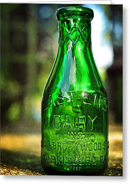 East End Dairy Green Milk Bottle Greeting Card