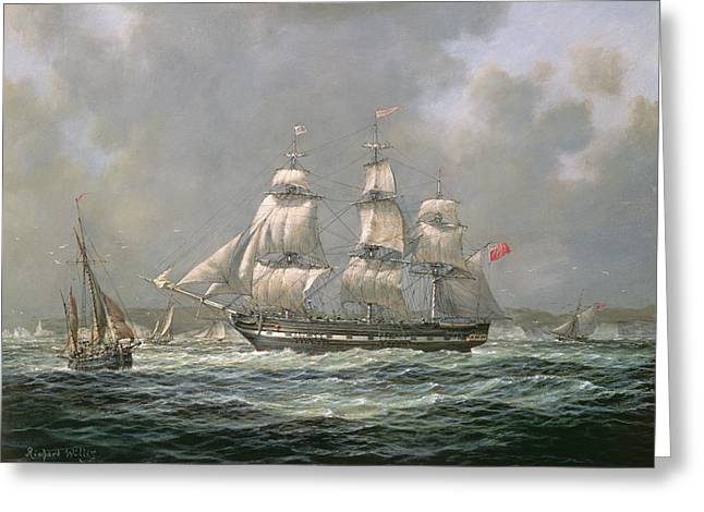 East Indiaman Hcs Thomas Coutts Off The Needles     Isle Of Wight Greeting Card by Richard Willis