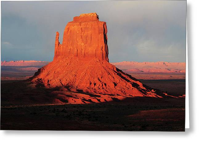 East Mitten At Sunset, Monument Valley Greeting Card by Michel Hersen