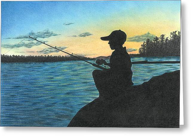Greeting Card featuring the drawing East Pond by Troy Levesque