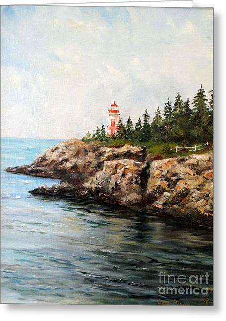 East Quoddy Head Light Greeting Card by Lee Piper