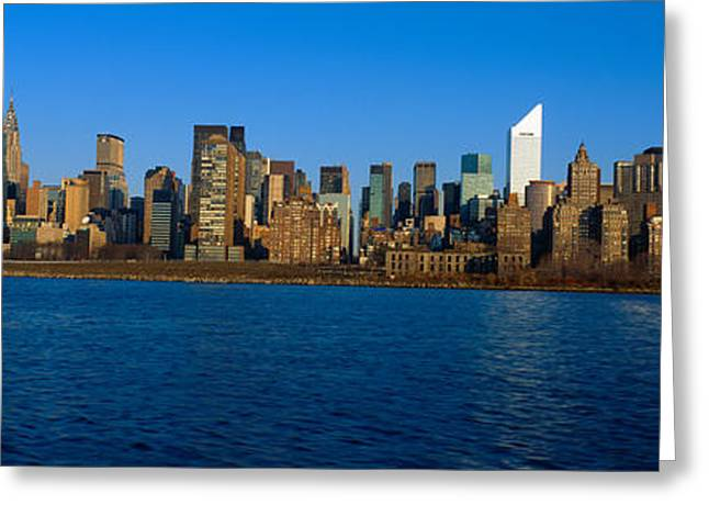 East River And New York Skyline, View Greeting Card