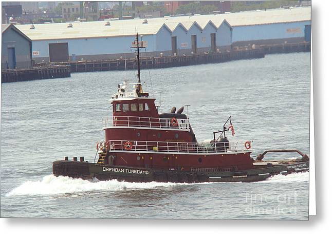 New York East River Tug Boat  Greeting Card by Anthony Morretta
