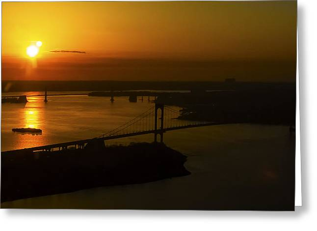 East River Sunrise Greeting Card by Greg Reed
