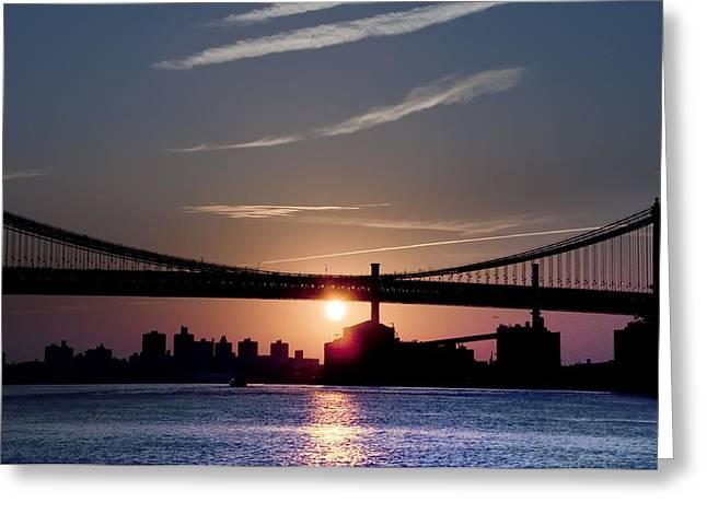 East River Sunrise - New York City Greeting Card