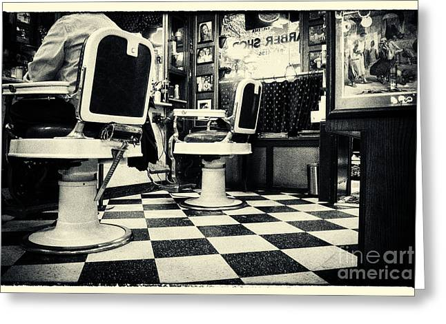 East Side Barber Shop New York City Greeting Card by Sabine Jacobs