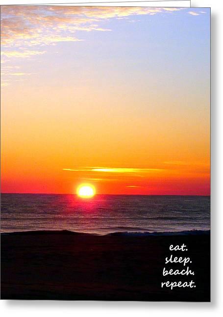 East. Sleep. Beach Sunrise Greeting Card