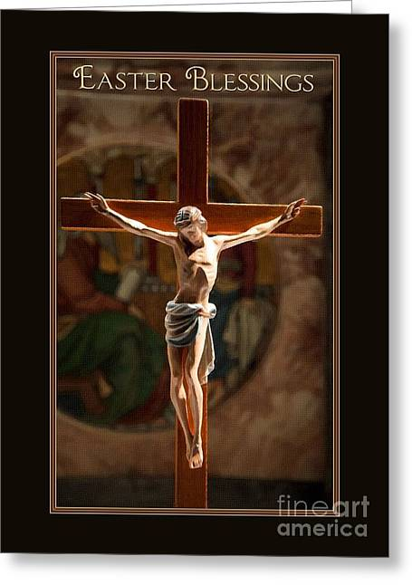 Easter Blessing Painted Cross Greeting Card