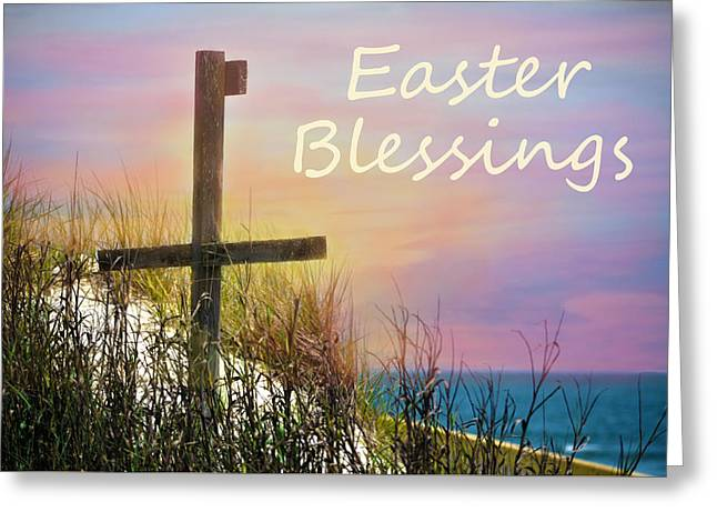 Easter Blessings Cross Greeting Card by Sandi OReilly