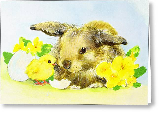 Easter Bunny With Primrose And Chick Greeting Card by Diane Matthes