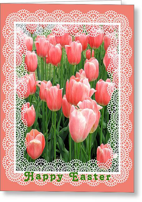 Easter Card With Tulips Greeting Card by Rosalie Scanlon