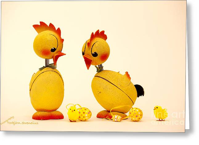 Easter Chickens Greeting Card by Torbjorn Swenelius