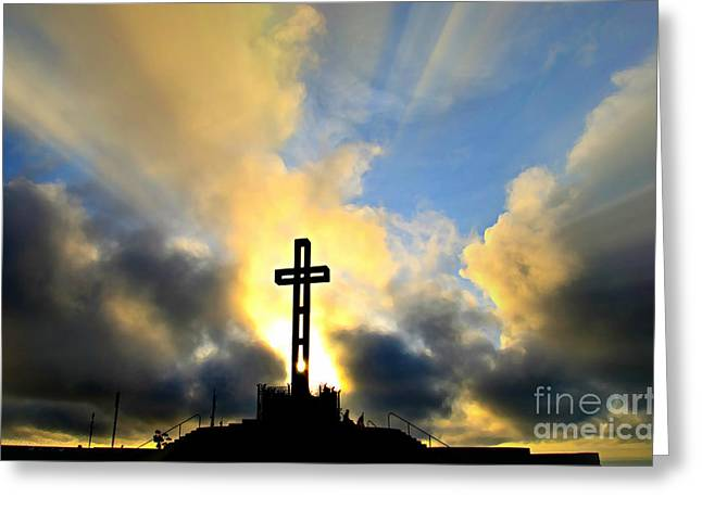 Easter Cross - Digital Paint Effect Greeting Card