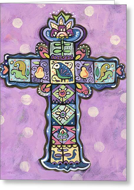 Easter Cross On Orchid Greeting Card by Jen Norton