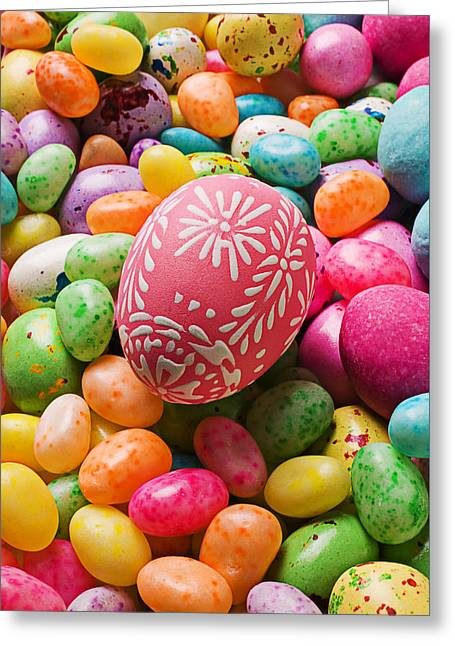 Easter Egg And Jellybeans  Greeting Card