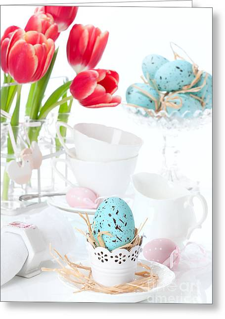 Easter Egg Setting Greeting Card by Amanda Elwell