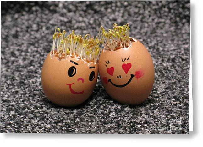 Easter Eggmen Or Eggs With Hair Series. 02 Greeting Card