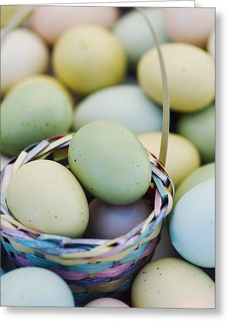 Easter Eggs And Basket Greeting Card by Darren Greenwood