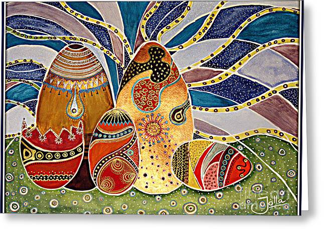 Easter Eggstravaganza Greeting Card by Jolanta Anna Karolska