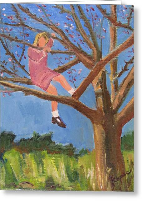 Greeting Card featuring the painting Easter In The Apple Tree by Betty Pieper