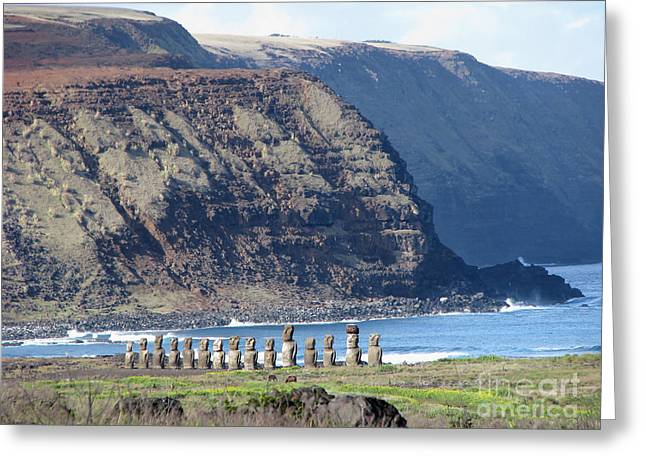 Easter Island Requiem Greeting Card by Jola Martysz